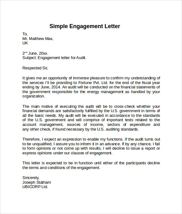 9 sample engagement letters to download sample templates for Cpa engagement letter template