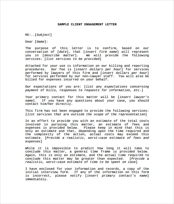 engagement letter lawyer audit engagement letter engagement letters
