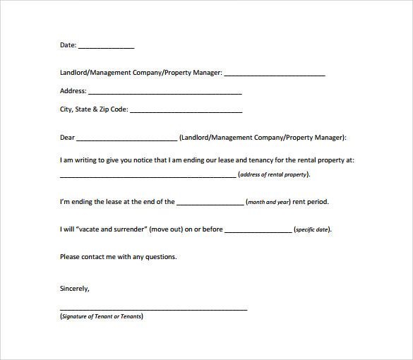30 Day Notice Letter Templates