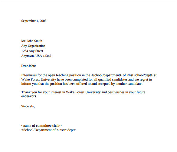 Sample Rejection Letter After Interview 9 Download Free – Rejection Letter Sample