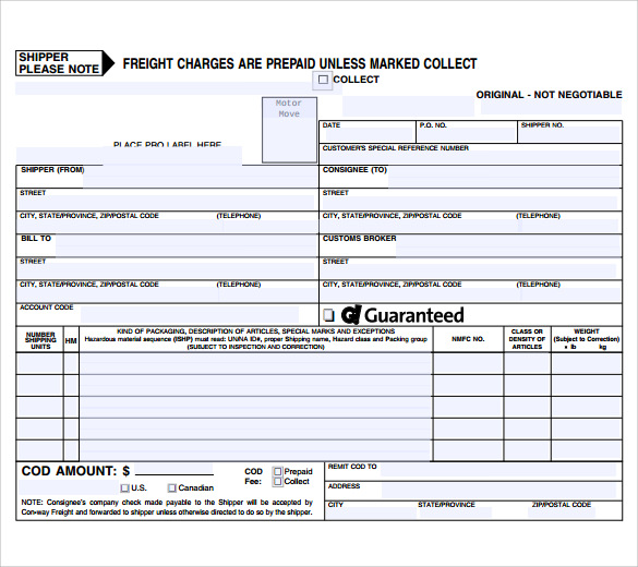 Sample Bill of Lading 5 Documents in PDF – Sample Bill of Lading Template