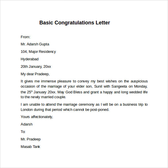 how to write congratulatory letter Sample congratulatory letter dearest nancy, john and i have just heard the wonderful news of your appointment as the new vice president of abc holdings inc and we'd like to extend our warmest congratulations to you for this accomplishment.