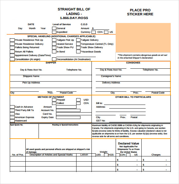 Doc12831658 Straight Bill of Lading Template 6 bill of lading – Sample of Bill of Lading Document