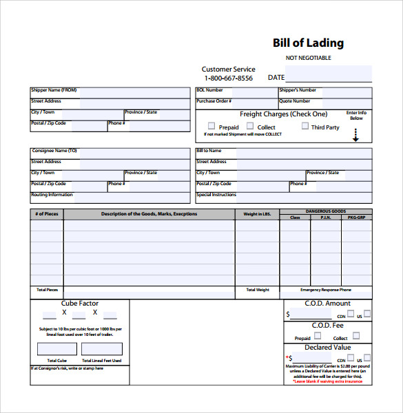 Sample Bill Of Lading Template  Bill Of Lading Form Free