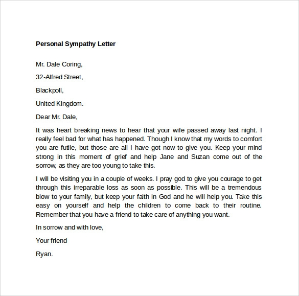 letter example – Example of Sympathy Letter