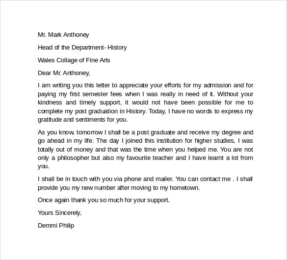how to write an appreciation letter for teacher