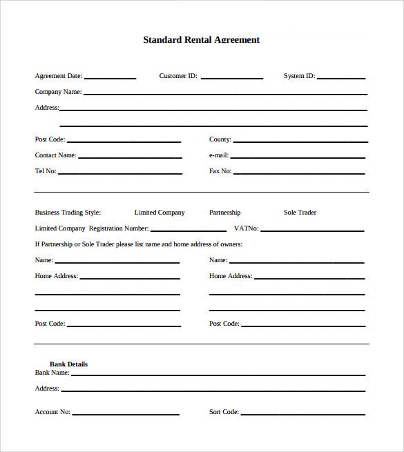 downloadable standard rental agreement