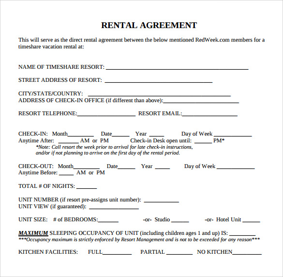 Standard Rental Agreement   Download Free Documents In Pdf Word