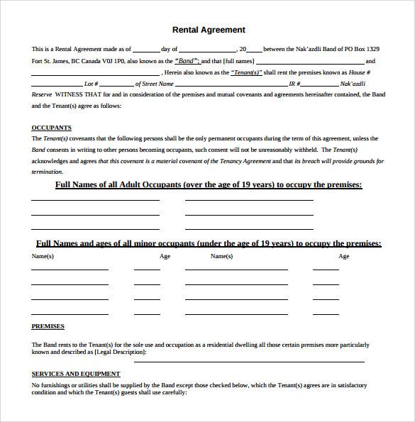 simple standard rental agreement