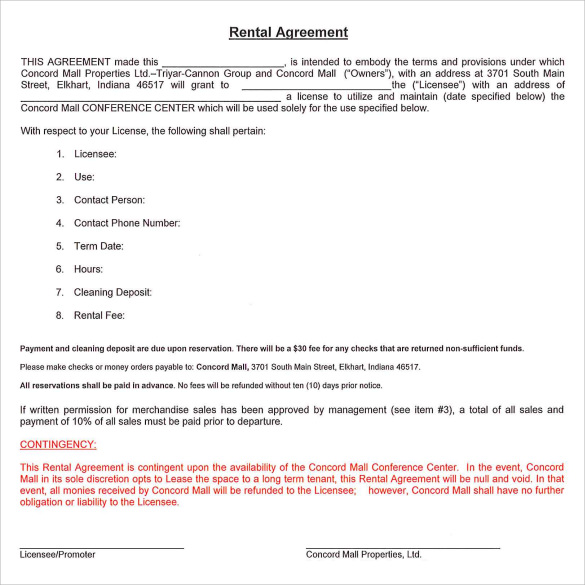 standard rental agreement example