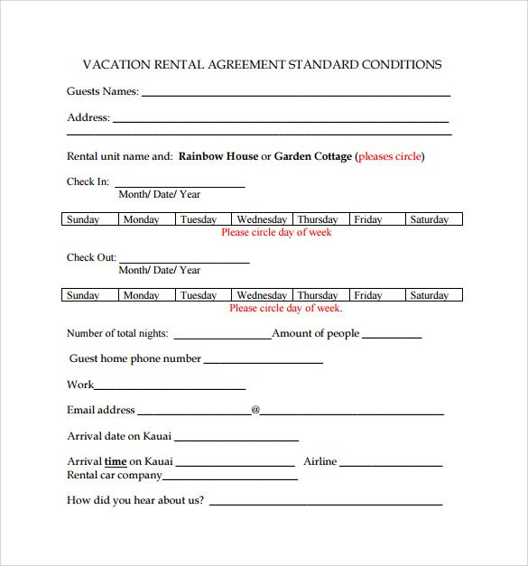 standard rental agreement to download