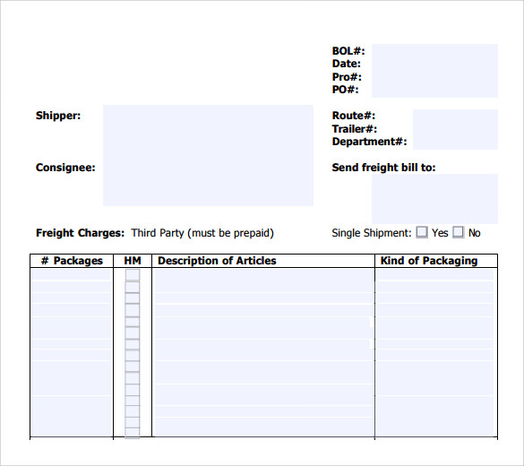 Free Bol Template Printable Sample Blank Bill Of Lading Form