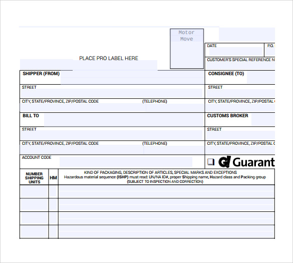 sample bill of lading short form