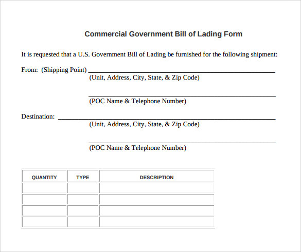 commercial government bill of lading form