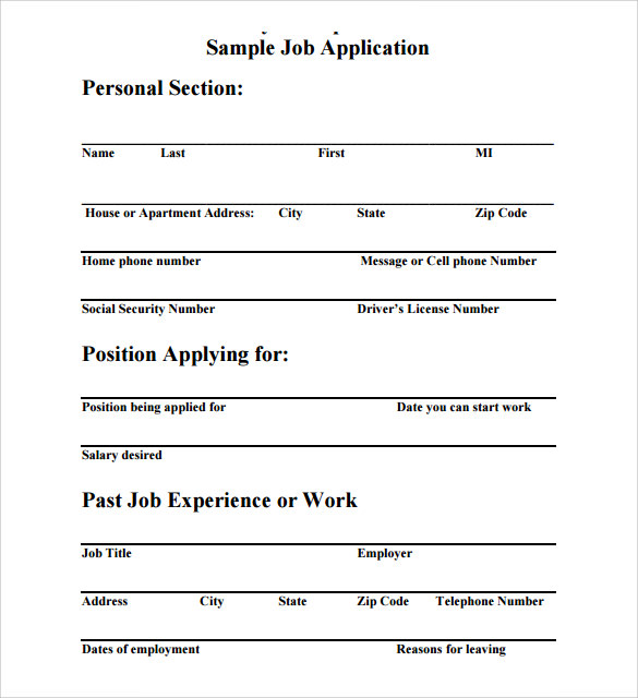 free download job application