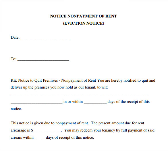 Sample Eviction Notice Form  Letter Of Eviction Notice