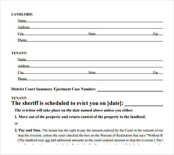 Sample Eviction Notice Form   Download Free Documents In Pdf