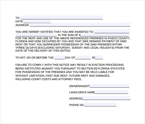 downloadable evitction notice form