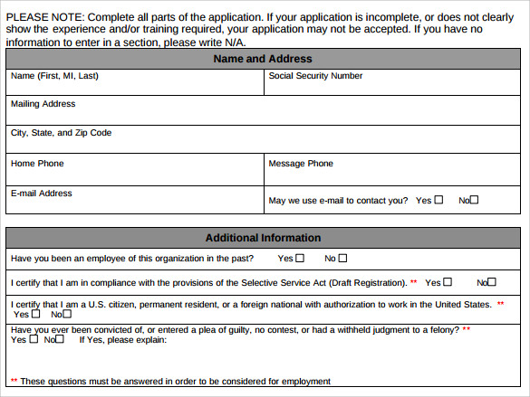 download job application template