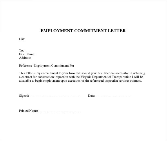Sample Commitment Letter Template   Free Documents In Pdf Word