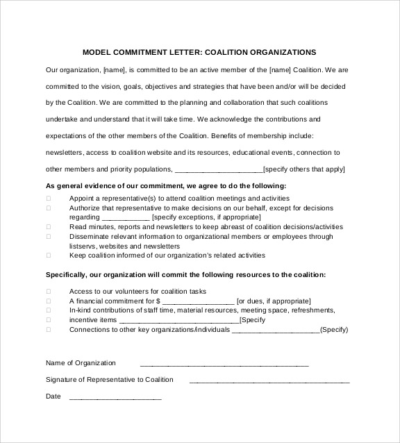 letter of commitment job sample commitment letter template 6 free documents in 8643