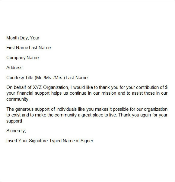 fundraising donation letter template .