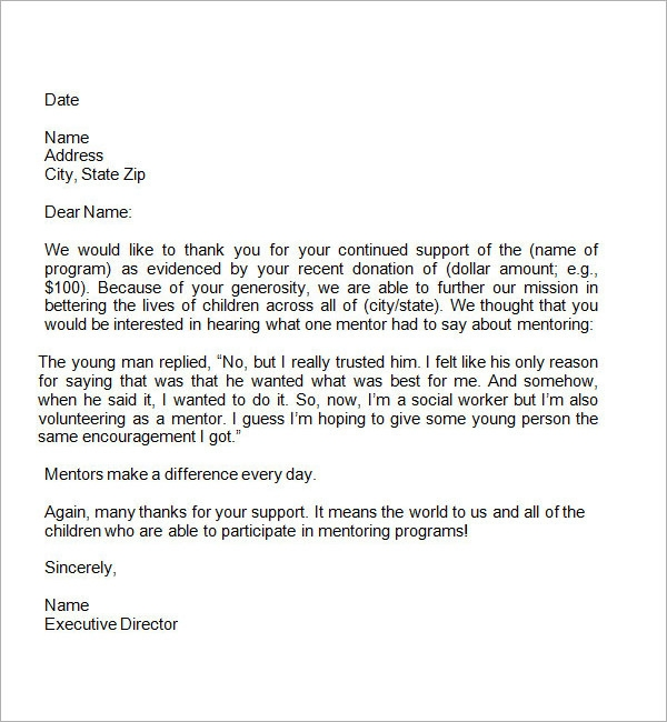 Fund Raiser Thank You Letter If Someone Has Extended His Or Her