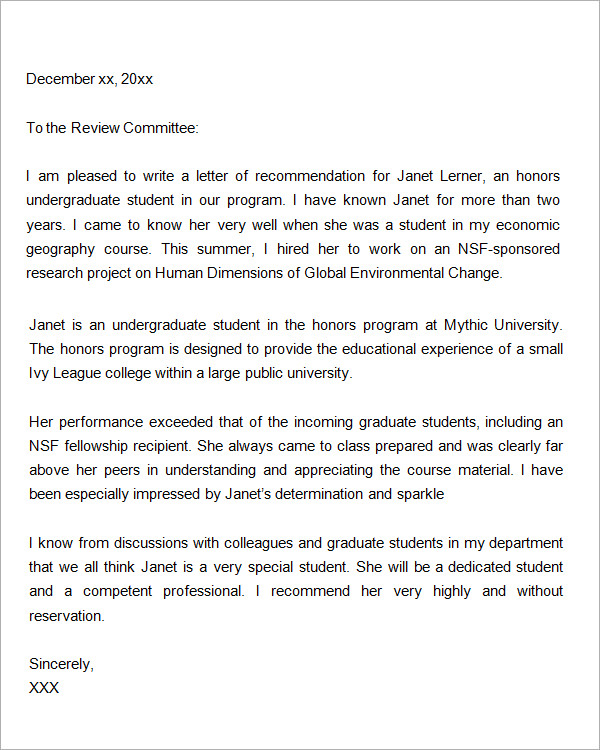 generic letter of recommendation for student