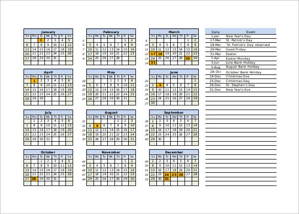 calendar excel template