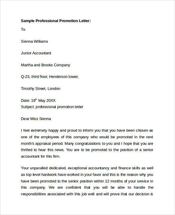 sample professional promotion letter