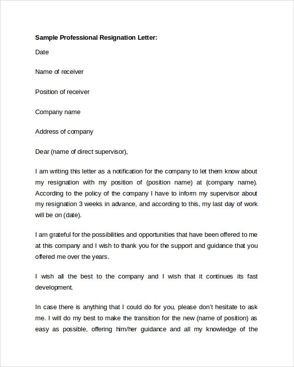Professional Resignation Letter Samples  SaveBtsaCo