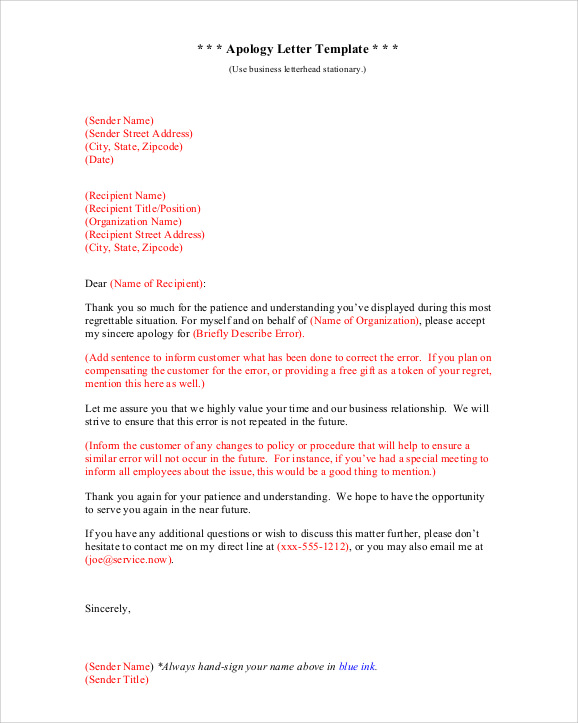 Apologies Letter Apology Letter To School 8 Download Free – Business Apology Letter Template