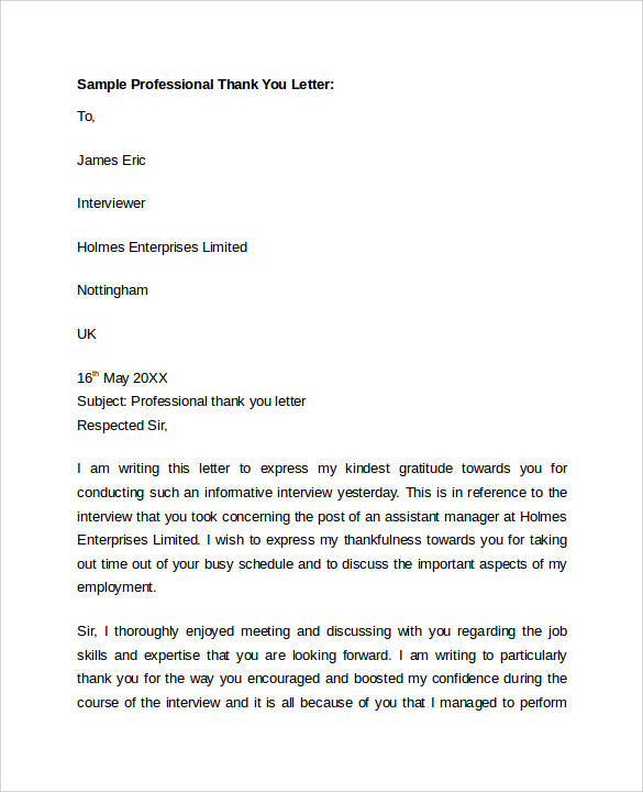 thank you letter format sample professional letter format 9 free 25111 | Sample Professional Thank You Letter