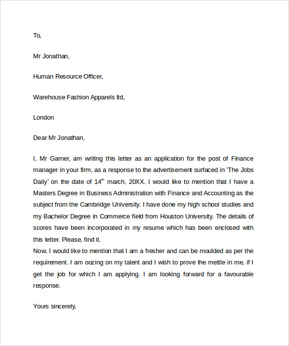 Sample Professional Letter Format   Download Free Documents In