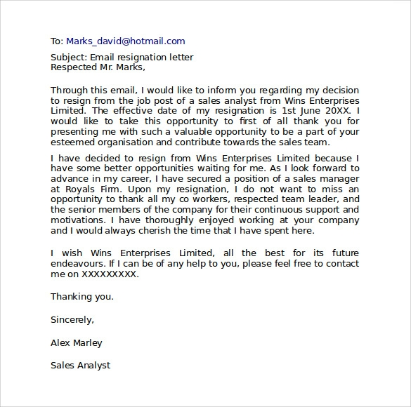 resignation letter format 9 download free documents in pdf word