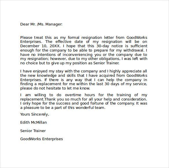 Job resignation letter templates sample job resignation letter sample templates success spiritdancerdesigns Gallery