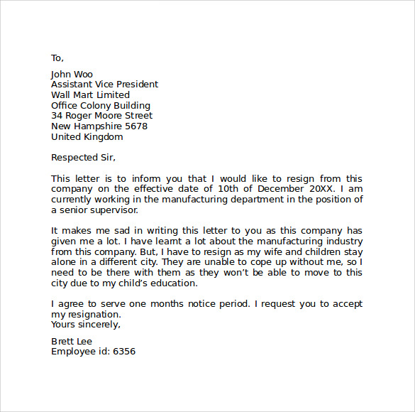 Sample Resignation Letter Format - 9+ Download Free Documents in PDF ...