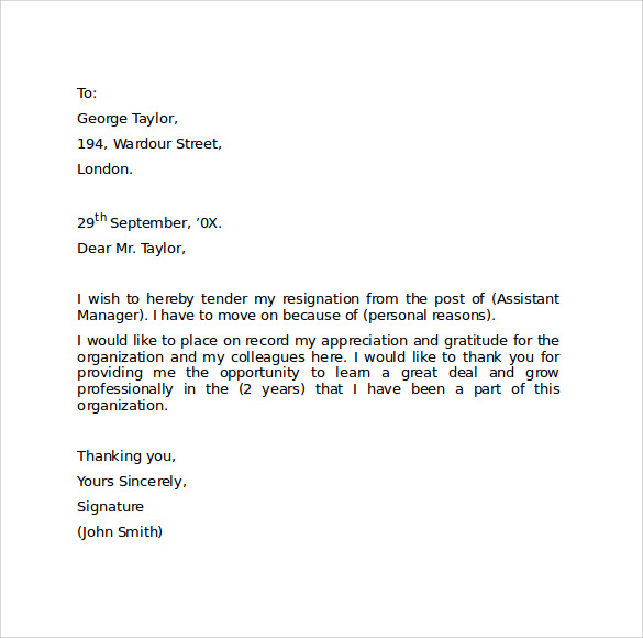 Sample resignation letter format 9 download free documents in pdf professional resignation letter format altavistaventures Gallery