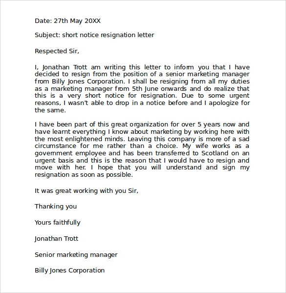 Sample Resignation Letter Format - 9+ Download Free Documents In