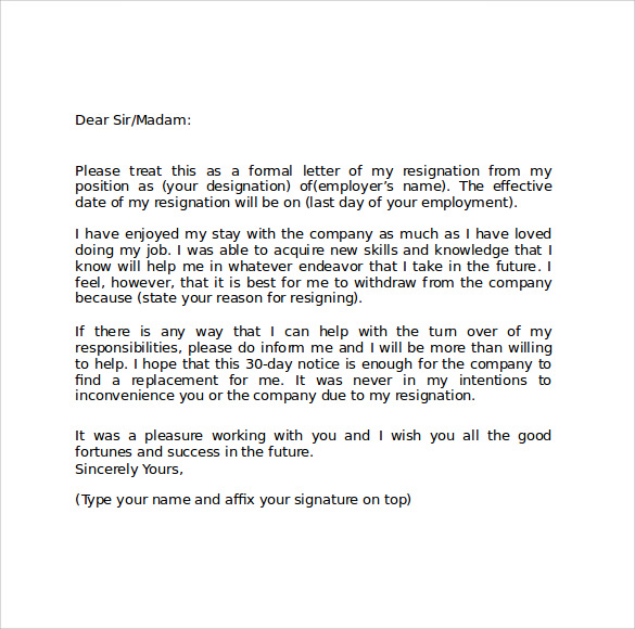 resignation letter template word – Resignation Template Word