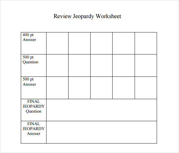 Sample Jeopardy Game Template - 6+ Download Documents In Pdf , Ppt