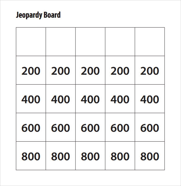 Sample Jeopardy Game Template 6 Download Documents in PDF PPT – Blank Jeopardy Template