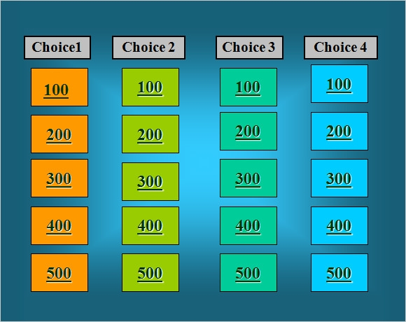 Sample Jeopardy Game Template   Download Documents In Pdf  Ppt