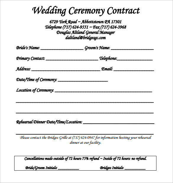 wedding contract template 18 download free documents in pdf word psd