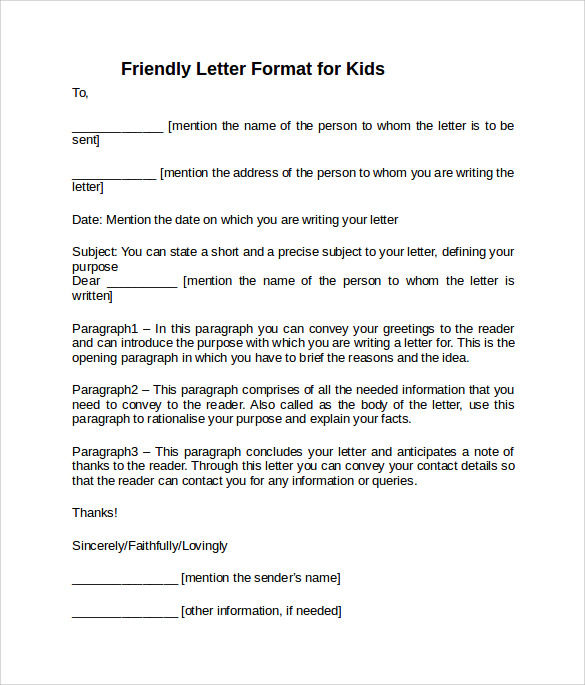 8 sample friendly letter format examples to download