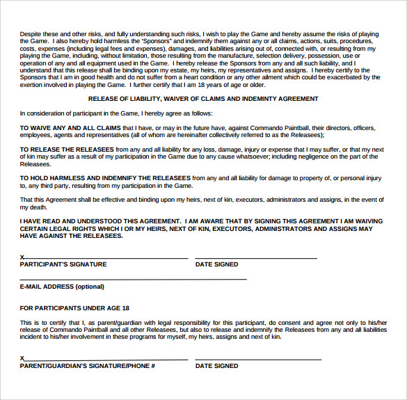 Captivating Liability Waiver Form Example In Liability Waiver Template Word