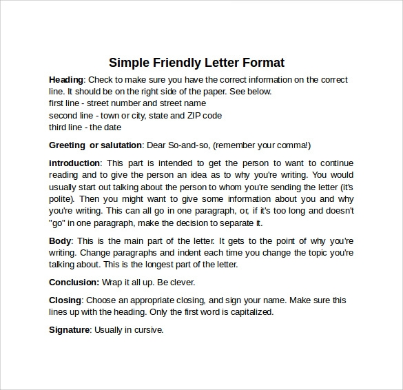 Sample Friendly Letter Format   Download Free Documents In Pdf Word
