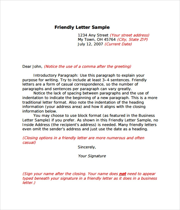 Sample Friendly Letter Format   Download Free Documents In Pdf