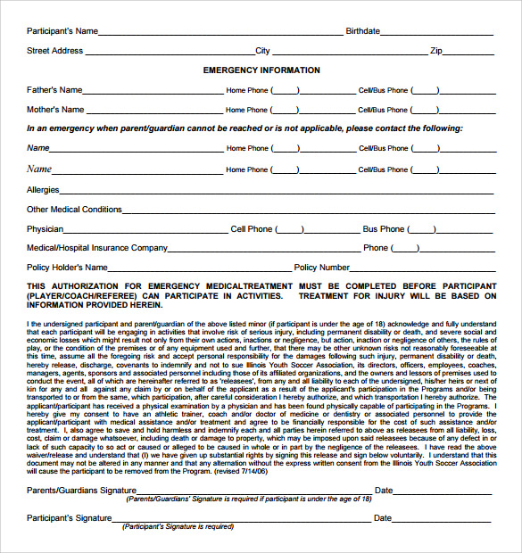 liability waiver form for children