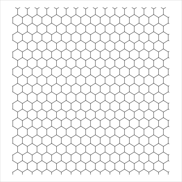 hexagonal plain graph paper template